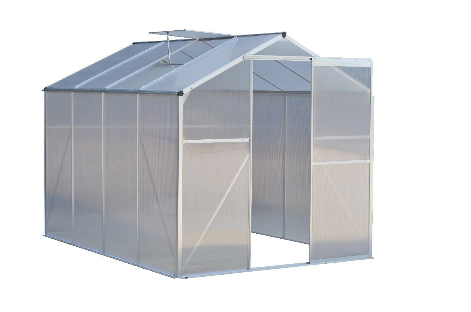 Costway 8.2x6.2ft Walk-in Garden Greenhouse Heavy Duty Polycarbonate Roof Aluminum Frame by Costway