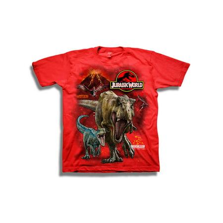 Short Sleeve Jurassic Park Trex & Raptor w/ Volcano Graphic Tee ()