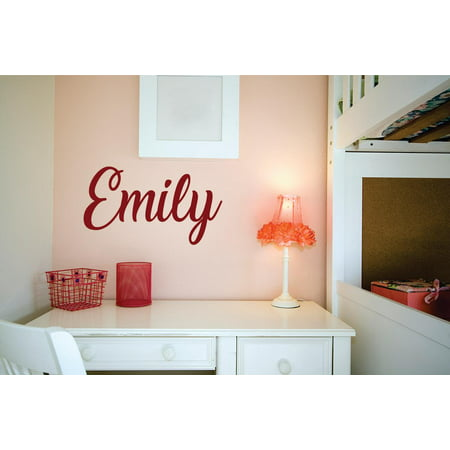 Custom Wall Decor - Personalized Name Vinyl Decal Sticker Custom Initial Wall Art Personalization Decor Sticker Script Boy Girl Bedroom Children Teen 4 Inches X 12 Inches