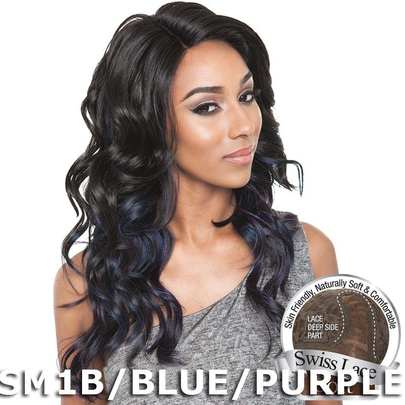 Brown Sugar Human Hair Blend Soft Swiss Lace Wig - BS214 (OM1B/SILVER/LAVENDER)