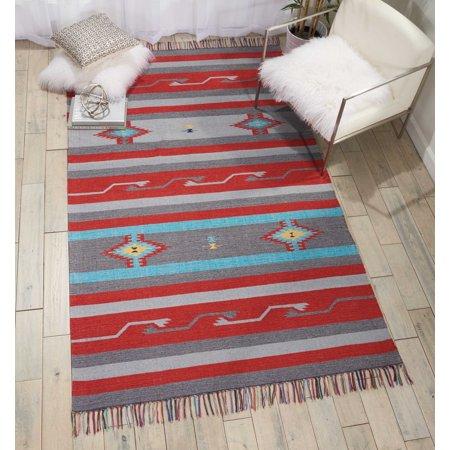 Nourison Baja Grey/Red Area Rug ()