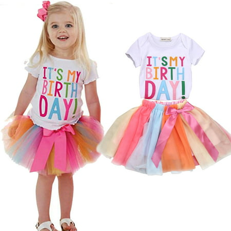 Toddler Kids Baby Girls Birthday Outfits Clothes Short Sleeve T-shirt Tops+Rainbow Tutu Skirt Sets 1-2 Years - Children Clothing Boutique Online