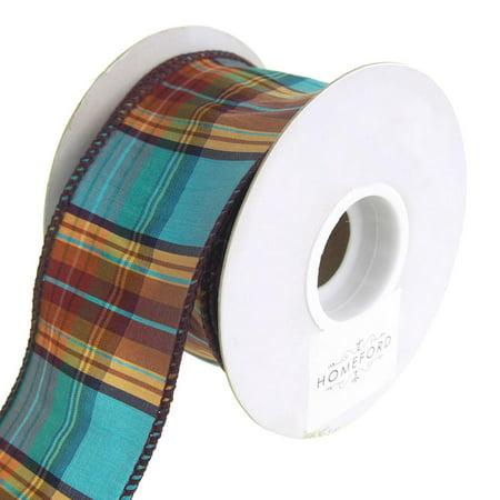 Elizabeth Plaid Wired Dupioni Ribbon, Turquoise, 2-1/2-Inch, 10 Yards ()