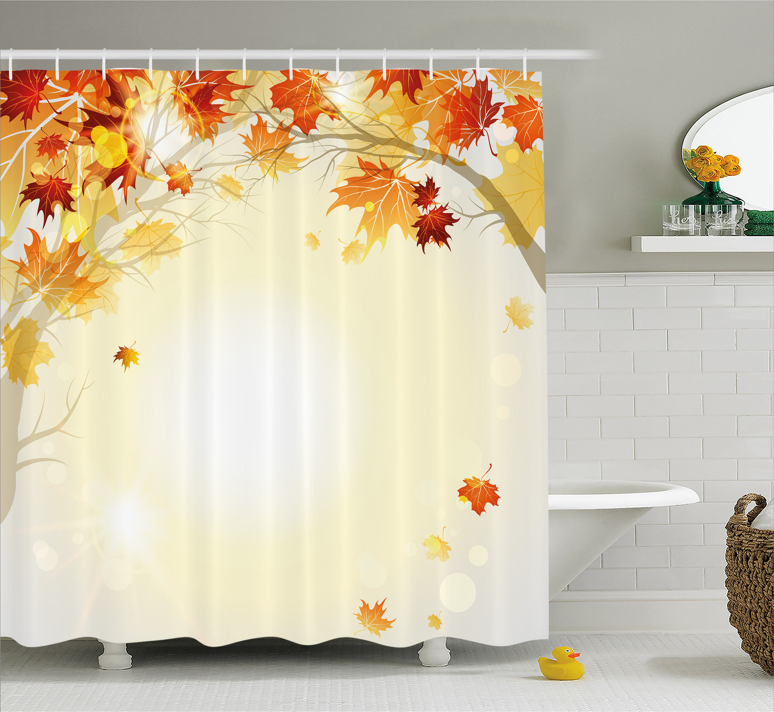 Fall Decorations Shower Curtain, Soft Image Of Faded Shedding Fall Leaves  From Tree Motion In