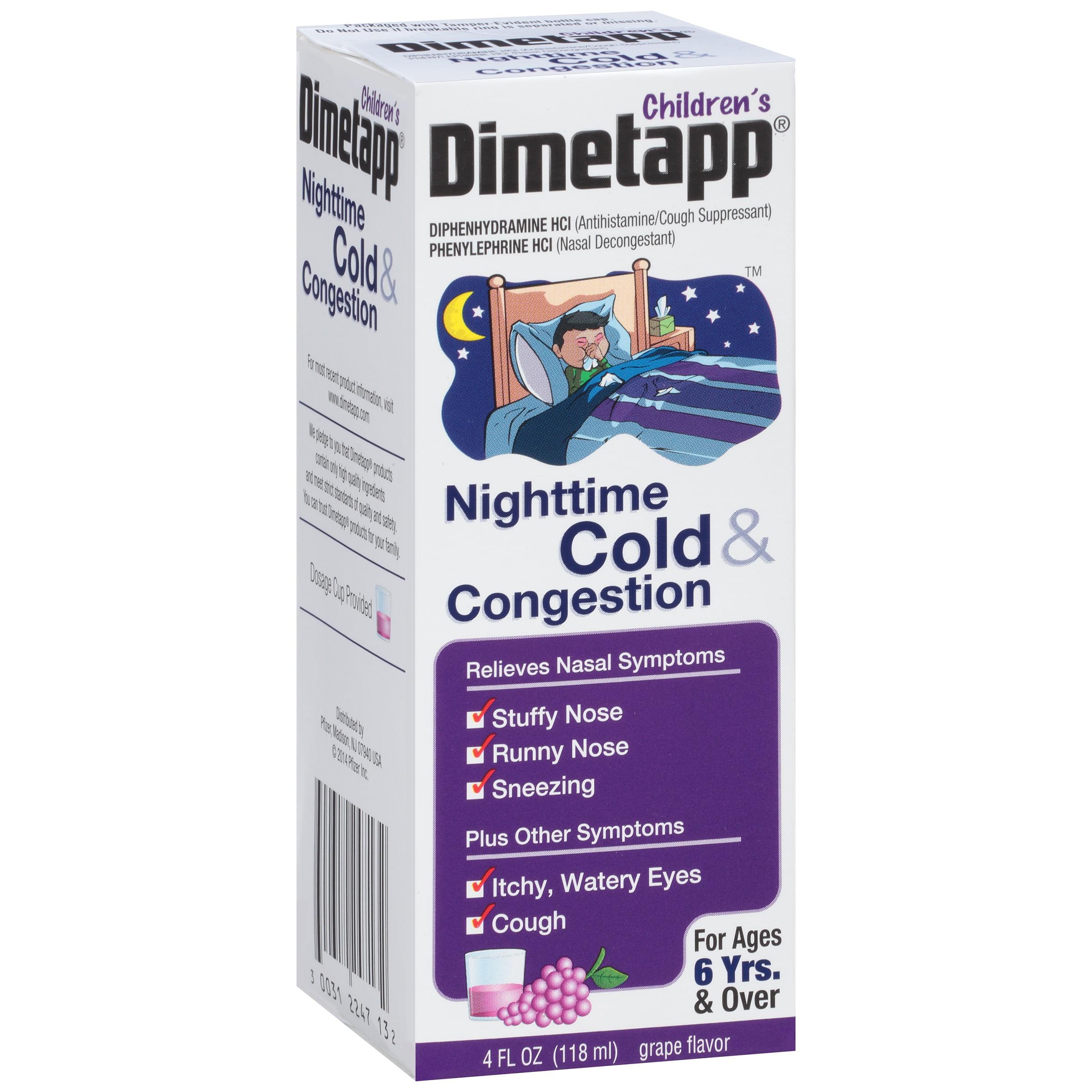 Children's Dimetapp ® Nighttime Cold & Congestion Antihistamine/Cough Suppressant & Decongestant Liquid 4 fl. oz. Box