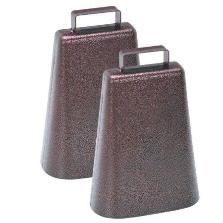 7 Inch Steel Cow Bell with Handle and Antique Copper Finish, 2-Pack, Loud, Low Tone Carries over Long Distances By Harbor Freight