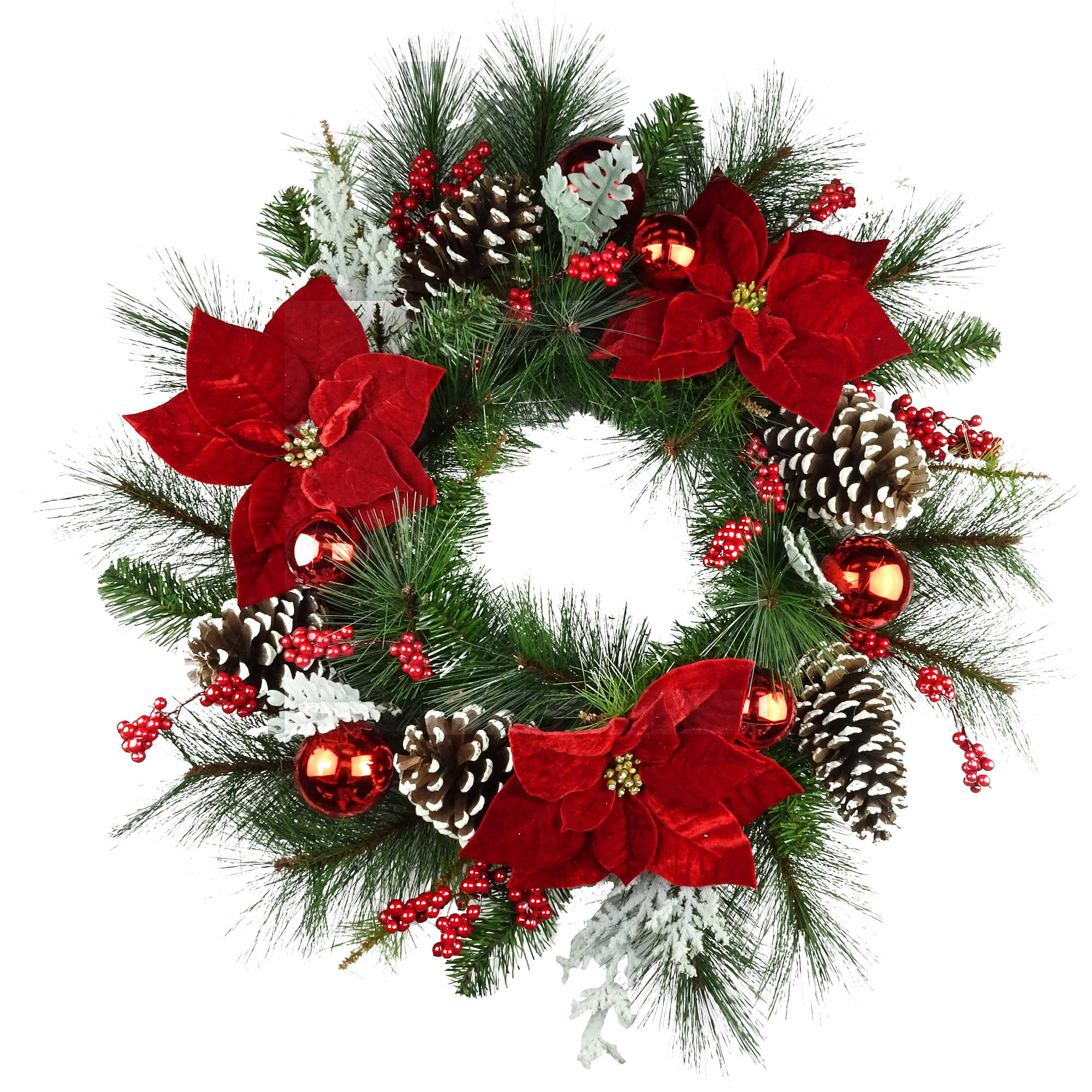 "Holiday Time 30"" Christmas Deluxe Red Poinsettia Wreath"