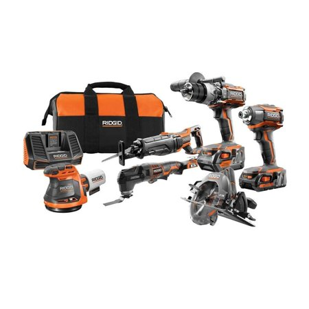 RIDGID 18-Volt Gen5X Cordless 6 Piece Combo Kit with (1) 4.0Ah Battery and (1) 2.0Ah Battery, Charger and Bag ()