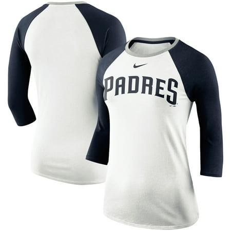 new arrival 677be 74bdd San Diego Padres Nike Women's Tri-Blend Raglan 3/4-Sleeve T-Shirt -  White/Gray