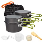 Camping Cookware Set Campfire Cooking Utensils Folding Cookset Outdoor Hiking Backpacking Pot Pan Bowls Mesh Carry Bag
