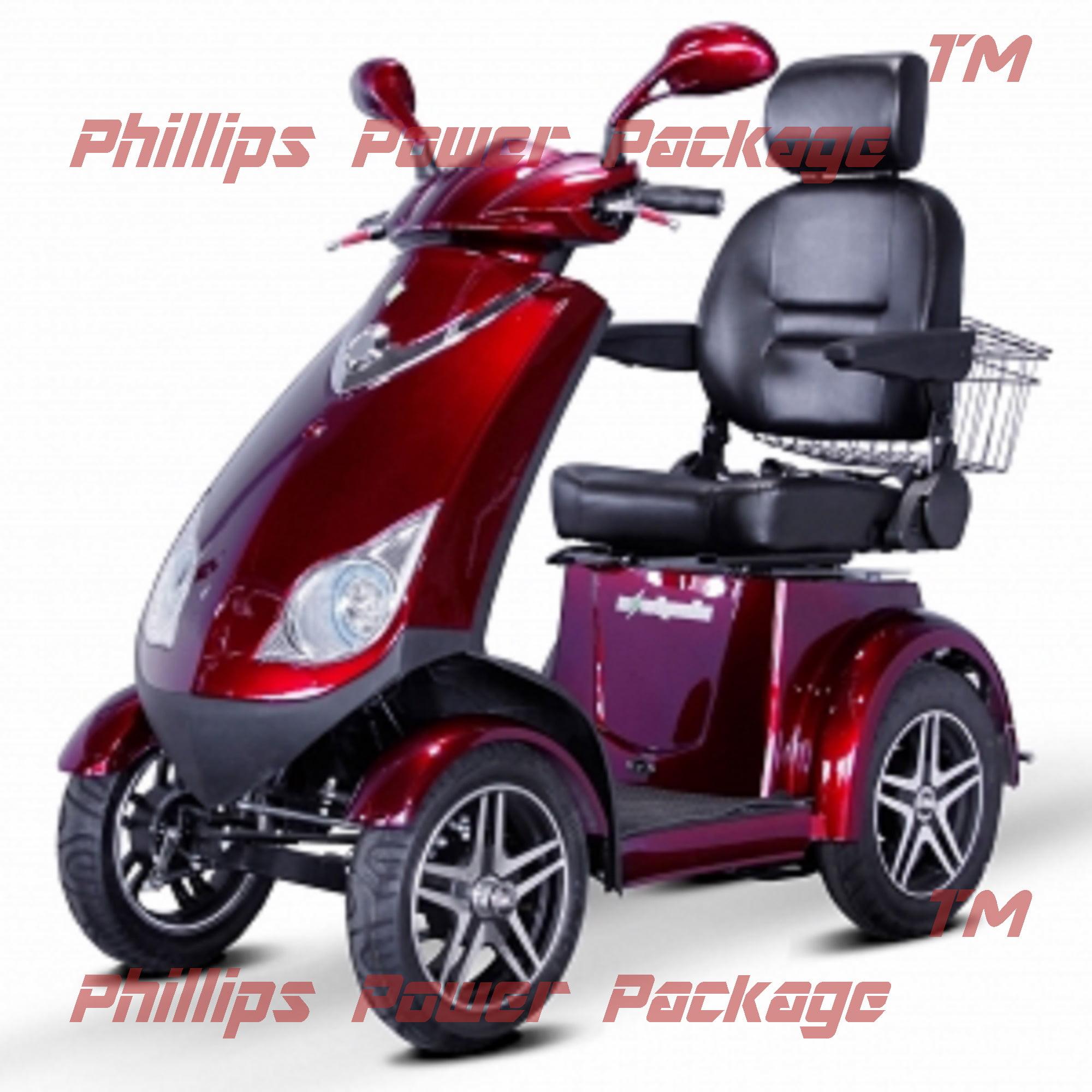 """E-Wheels EW-72 Heavy Duty Scooter 4-Wheel 18.5""""W x 17""""D Red PHILLIPS POWER... by"""