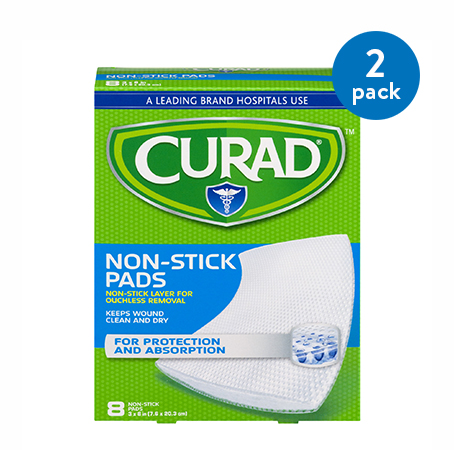 "(2 Pack) Curad Sterile Non-Stick Pads 8"" x 3"" 8ct"