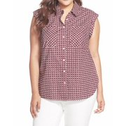 Sejour NEW Red Navy Square Print Women 20W Plus Button Down Shirt