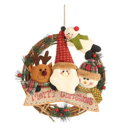 Rattan Christmas Wreath With 4 Plush Dolls Front Door Garland Holiday Hanging Pendant Ornaments For Home Kitchen Wall Window ()
