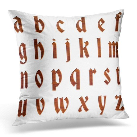 - USART Rich Wood Grain Antique Ancient Full Alphabet Lowercase Letter in 3D with Rough Brown Wooden White Pillow Case Pillow Cover 18x18 inch