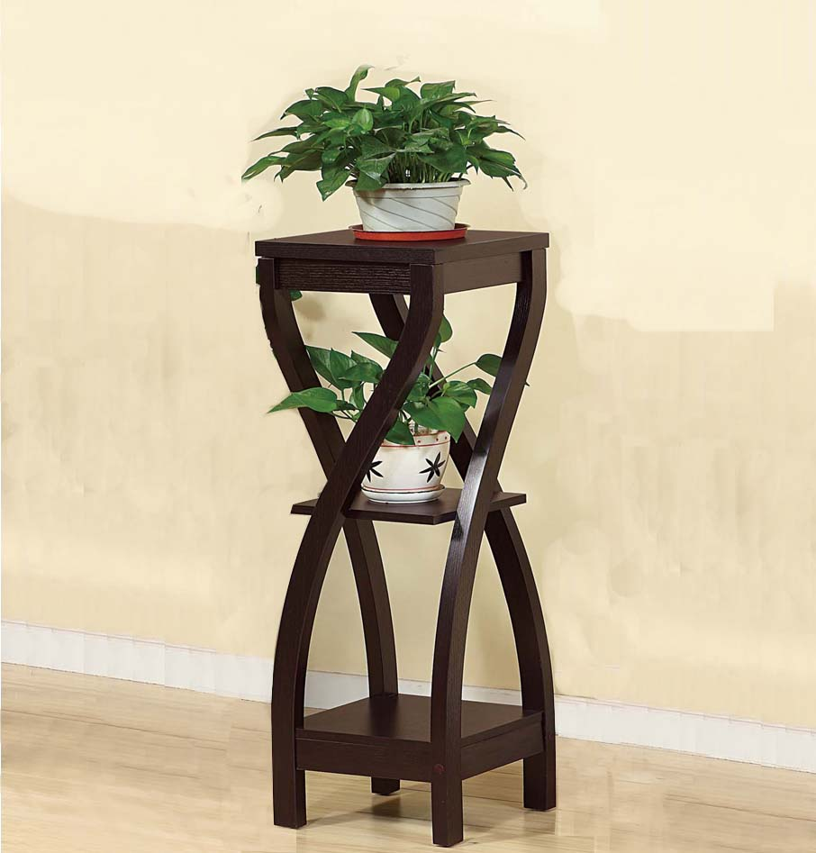 Elegant Design Large Plant Stand, Dark Brown by Benzara