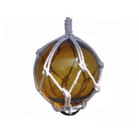 Beach Themed Christmas Ornaments (Amber Japanese Glass Ball With White Netting Christmas Ornament 3
