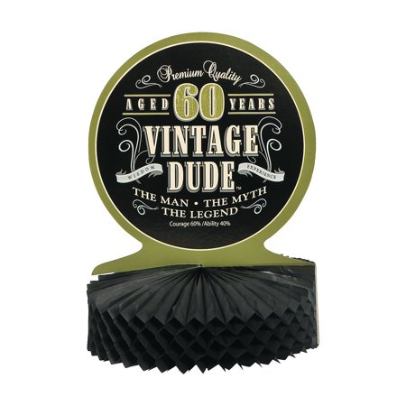 Fun Express - 60th Vintage Dude Centerpiece for Birthday - Party Supplies - Licensed Tableware - Misc Licensed Tableware - Birthday - 1 Piece - 60th Birthday Ideas For Mom