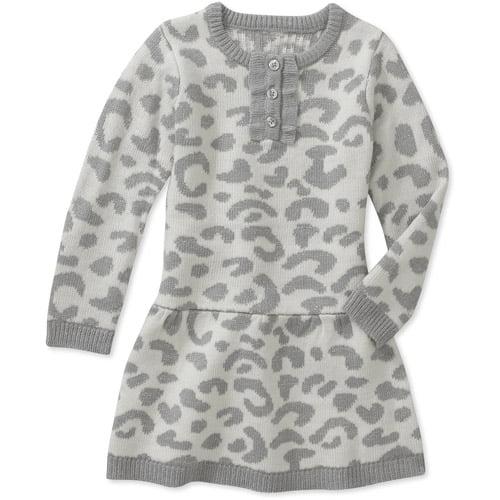 Healthtex Baby Girls' Grey Leopard Sweater Dress