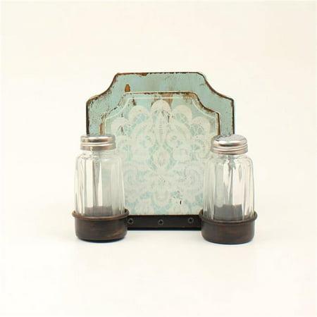M&F Western 94120 Salt & Pepper Napkin Holder Shaker Set, Turquoise