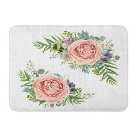 GODPOK Floral Bouquet Garden Pink Peach Lavender Rose Wax Flower Eucalyptus Branch Green Fern Palm Leaves Rug Doormat Bath Mat 23.6x15.7 inch