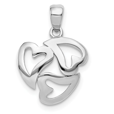 14k White Gold Cut Out 3 Heart Pendant Charm Necklace Love Multiple Gifts For Women For Her ()
