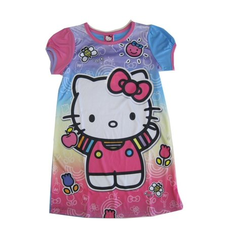 Hello Kitty Nightgown - Sanrio Big Girls Pink Blue Hello Kitty Print Short Sleeved Nightgown 8-10