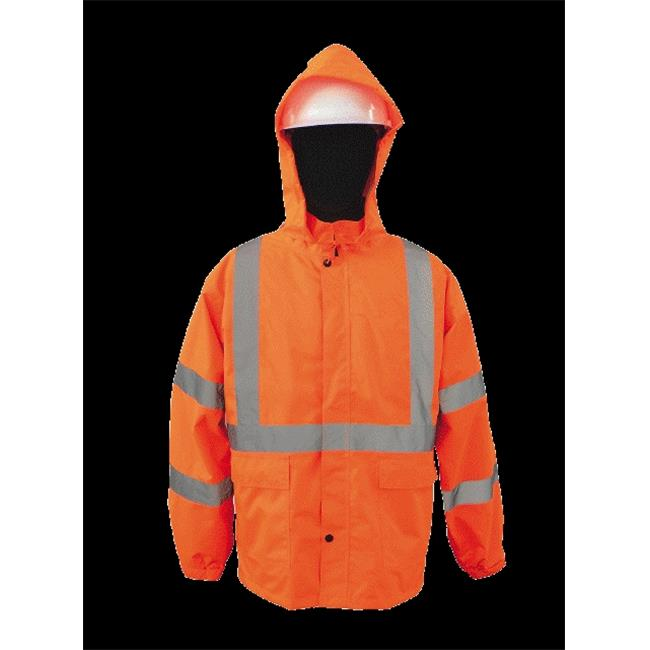 2W 730C-3 5XL 100 Percent Waterproof Rain Jacket - Orange, 5 Extra Large