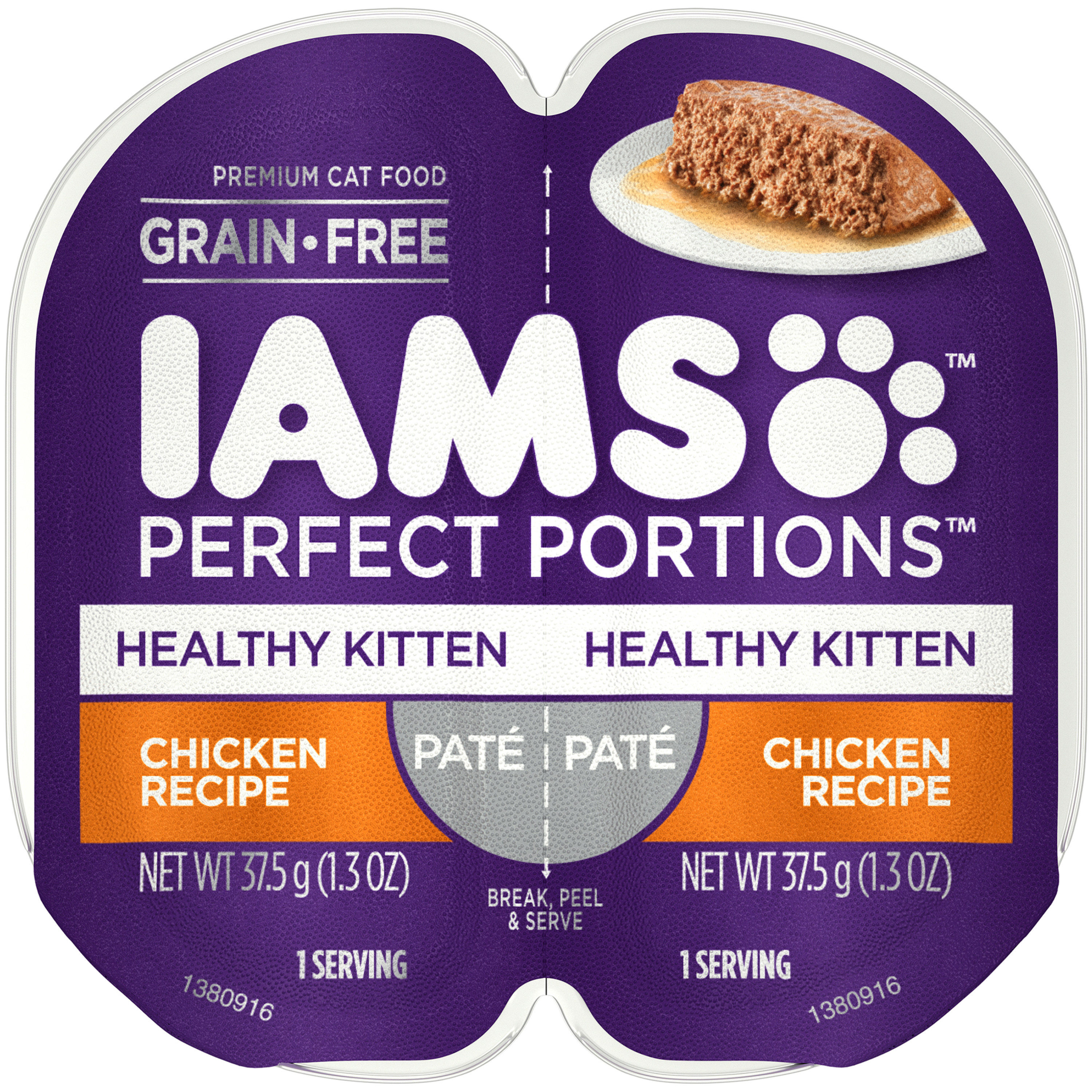 Iams Perfect Portions Healthy Kitten Chicken Recipe Pate Wet Cat Food, Tray, 2.6 Oz (2 Servings)