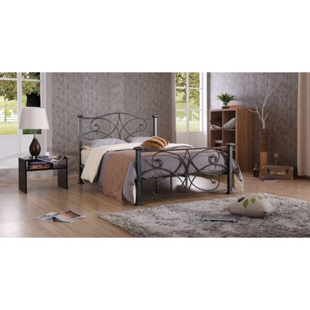 Hodedah Complete Charcoal Metal Bed, Multiple Sizes