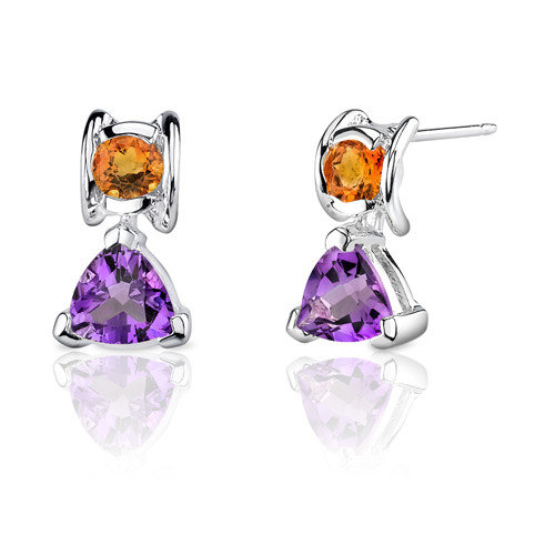 Oravo 1.75 Carats Amethyst Citrine Trillion Round Earrings in Sterling Silver