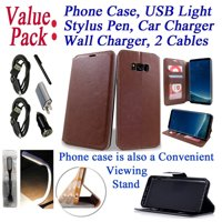 """Value Pack Cables Chargers + for 6.2"""" Samsung Galaxy S8 + PLUS Case Phone Case Hybrid Fold Wallet Kick Stand Pocket Pouch Screen Flip Cover Winter Blue"""
