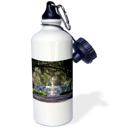 3dRose Water fountain, Forsyth Park, Savannah, Georgia - US11 DFR0070 - David R. Frazier, Sports Water Bottle, 21oz