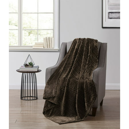 Better Homes & Gardens Brown Chevron Velvet Plush Throw Blanket, 50 x 60, Brown