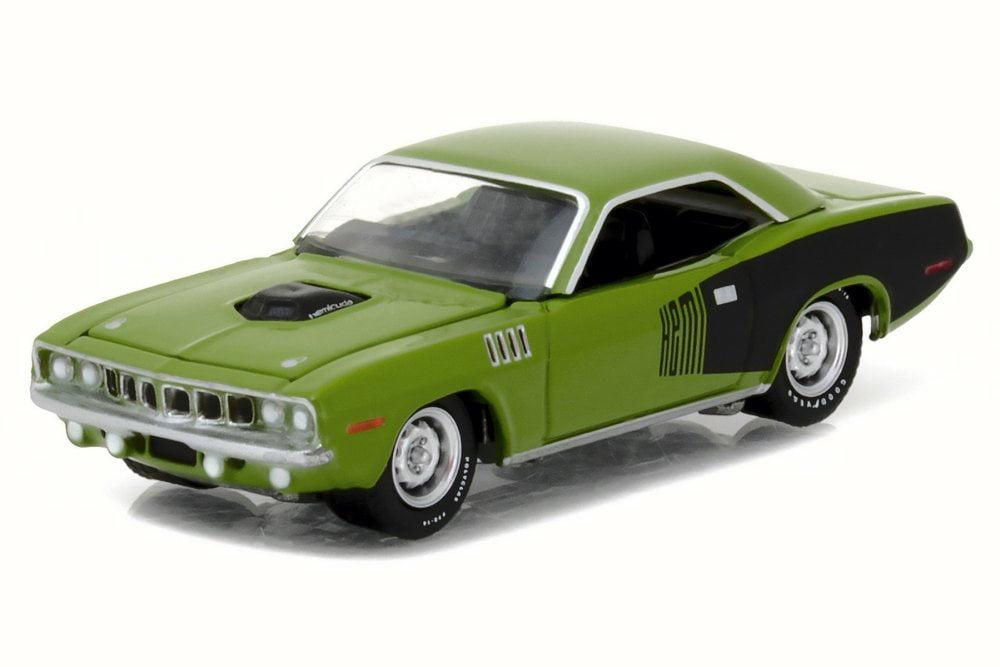 1971 Plymouth HEMI Cuda, Sassy Grass Green Greenlight 13180 48 1 64 Scale Diecast Model Toy Car by GreenLight
