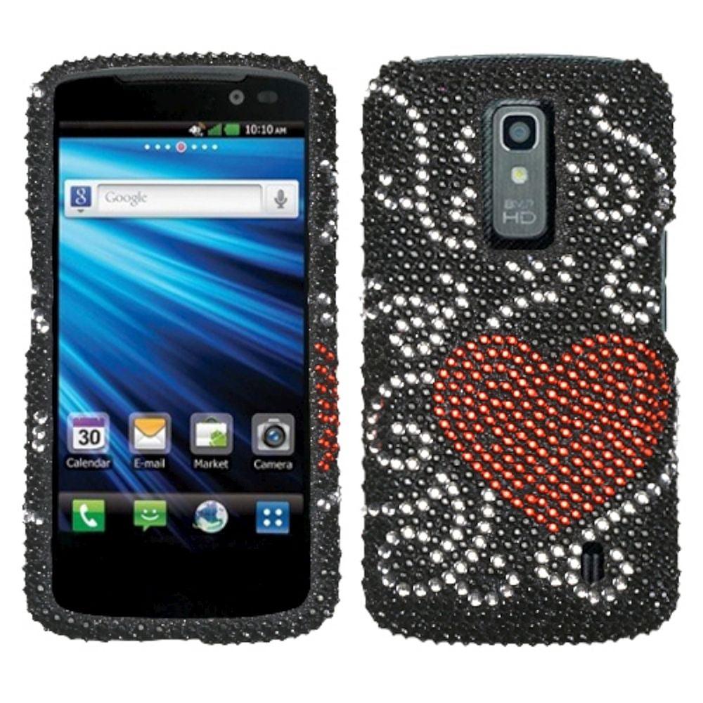 Insten Curve Heart Diamante Case for LG: P930 (Nitro HD)