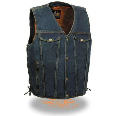 Milwaukee Mens Side Lace Denim Vest w/Chest Pockets Blue