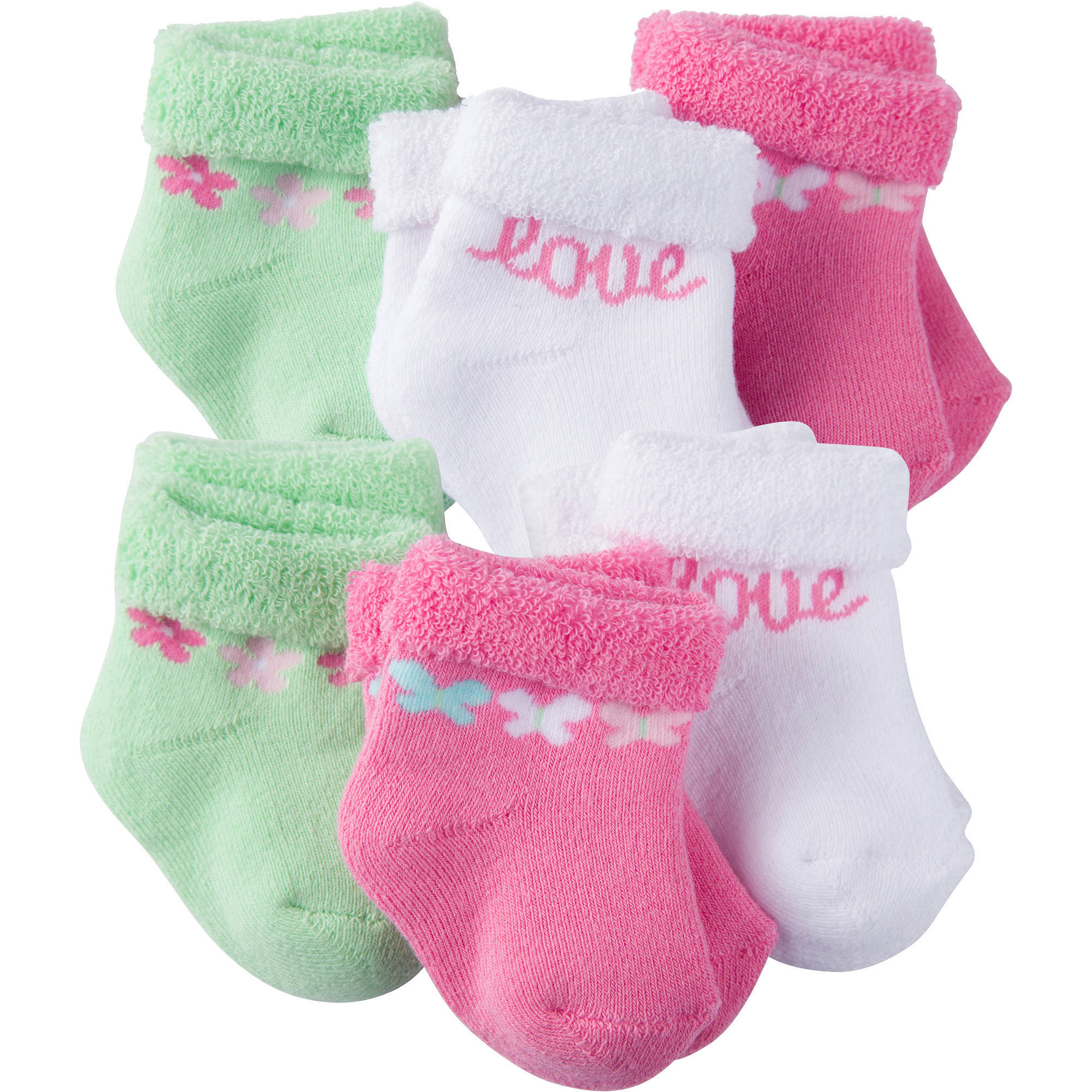 Gerber Newborn Baby Girl Terry Bootie Socks, 6-Pack