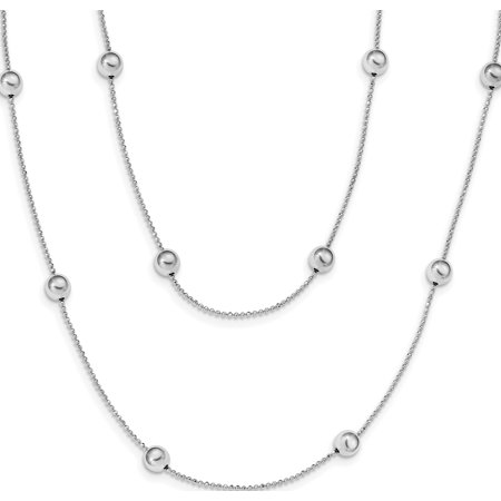 Leslie's Sterling Silver Rhod-plat Polished Beaded w/1.5 in ext Necklace - image 1 de 1