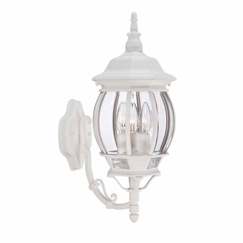 3-Light Outdoor White Wall Lantern with Clear Beveled Glass By Hampton Bay by