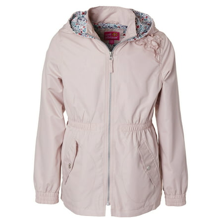 Sueded Ruffled Hooded Anorak Jacket (Little Girls & Big Girls) - Varsity Jackets For Little Girls