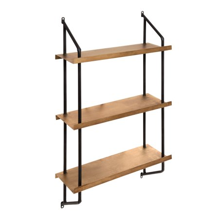 Gold Western Style Mounting - Kate and Laurel - Skuza 3-Tier Modern Style Metal Wall Mounted Display Shelves, Black Frame with Gold Shelves