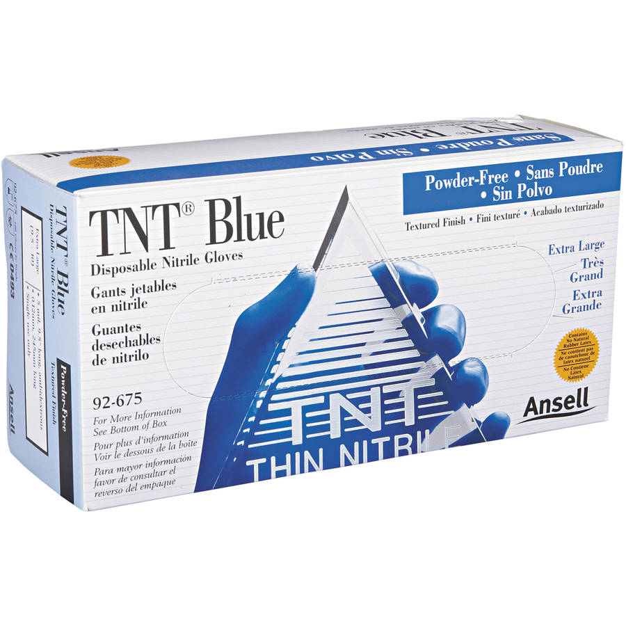 AnsellPro TNT Non-powdered Disposable Nitrile Gloves, Extra Large, Blue, 100 count