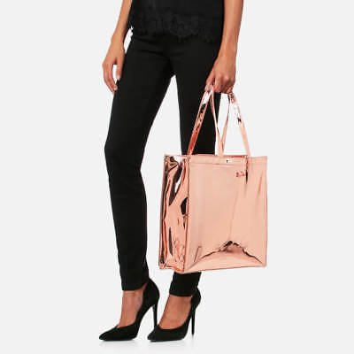 b2309a72a NWT Ted Baker London Jencon Mirrored Large Icon Tote Shoulder Bag Rose Gold