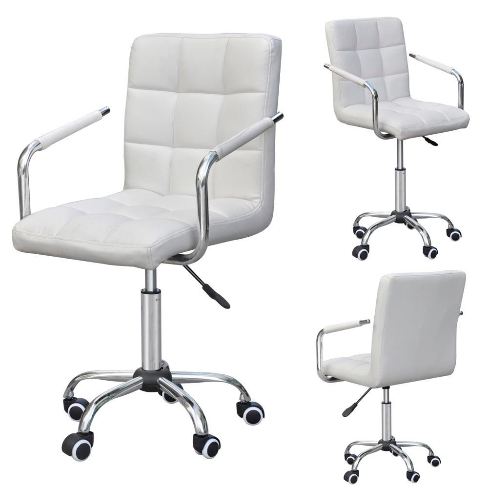Yaheetech rolling white modern ergonomic swivel leather office chairs computer chair executive home office furniture on wheels walmart com