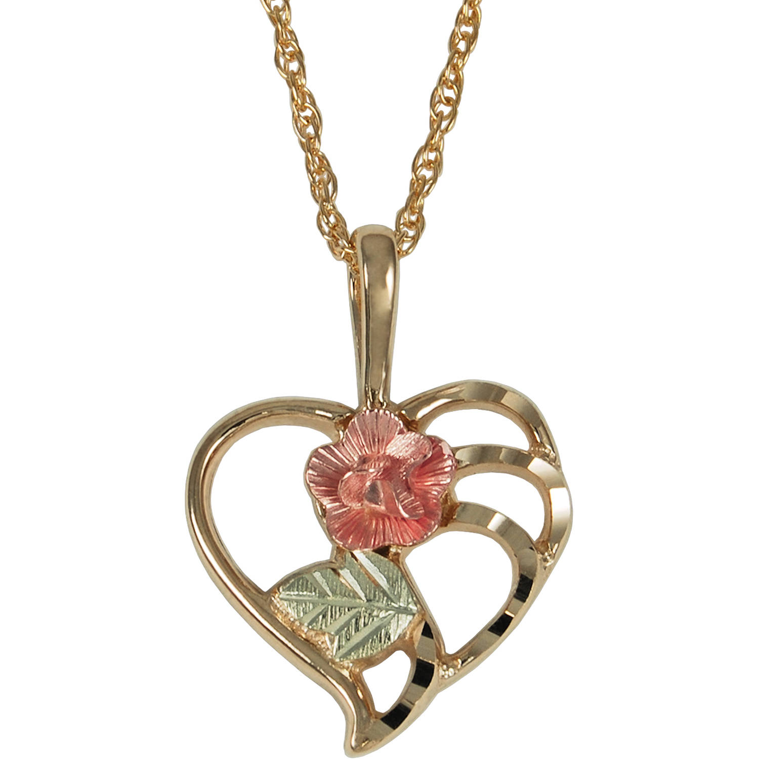 Black Hills Gold 10kt Yellow Gold with 12kt Accents Dakota Rose Heart Pendant, 18""