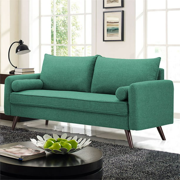 Lifestyle Solutions Calden Mid-Century Modern Design Upholstered Sofa, Seafoam Green