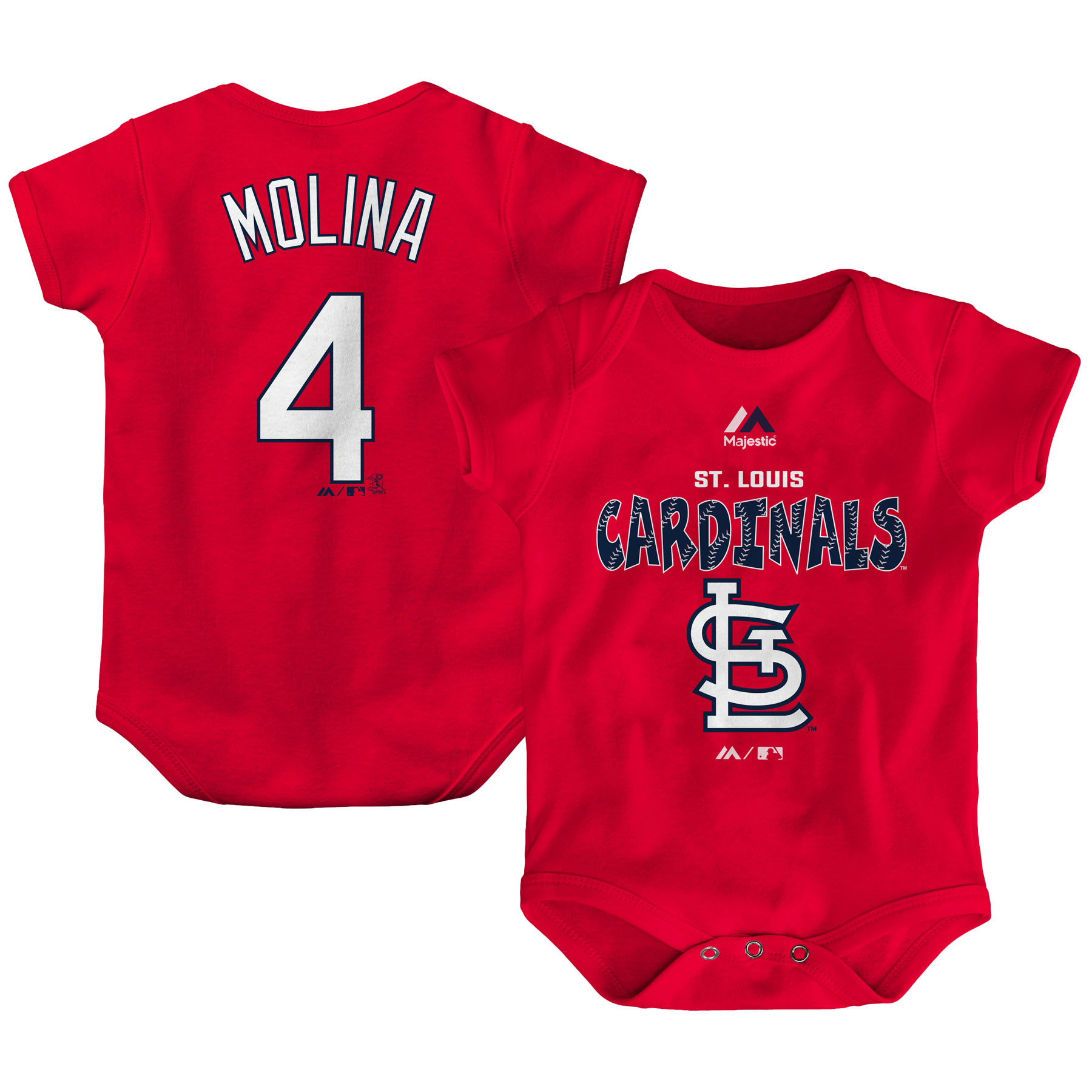Yadier Molina St. Louis Cardinals Majestic Newborn & Infant Stitched Player Name & Number Bodysuit - Red