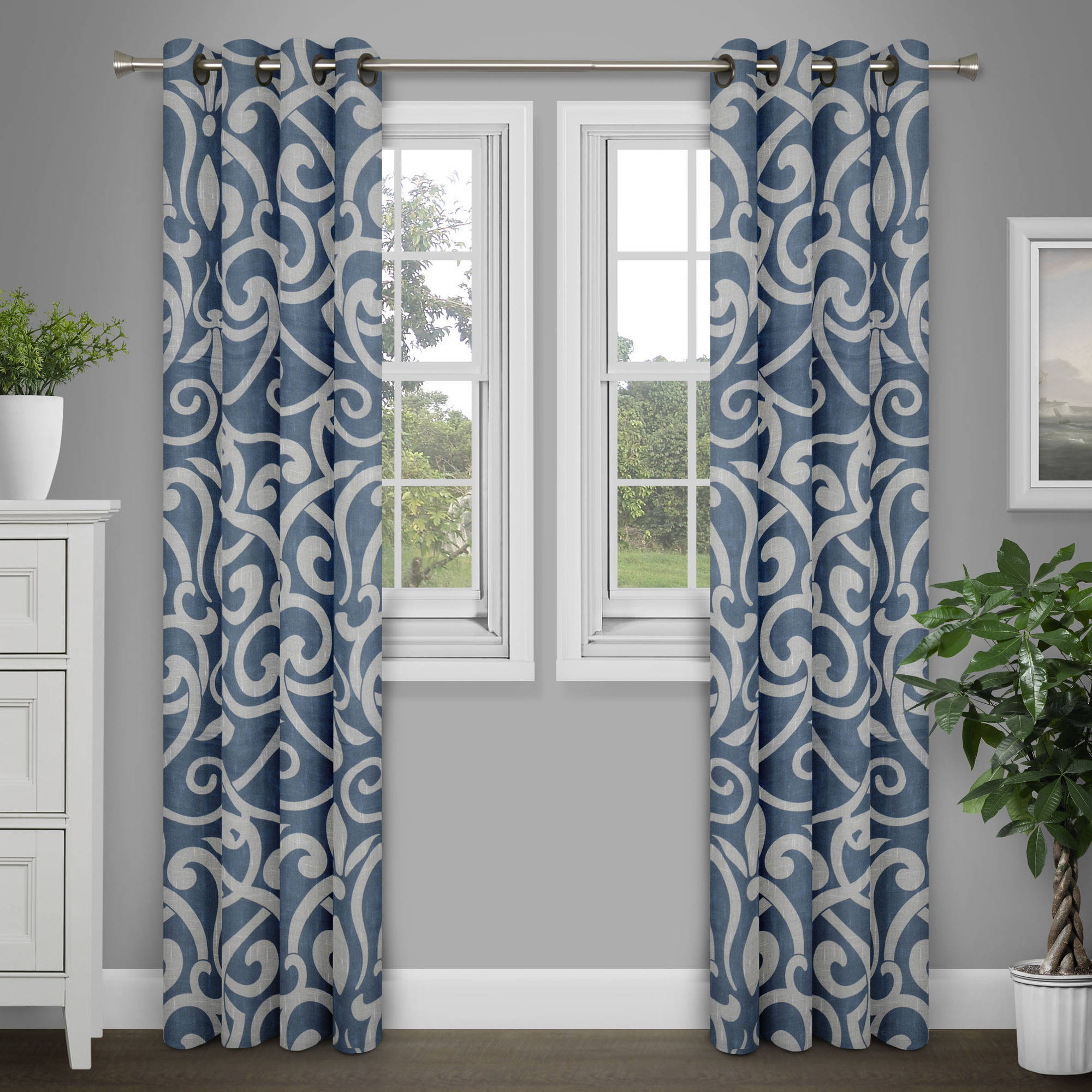 "Brinley Home 84"" Poly Linen Damask Print Grommet Top Curtain Panel"