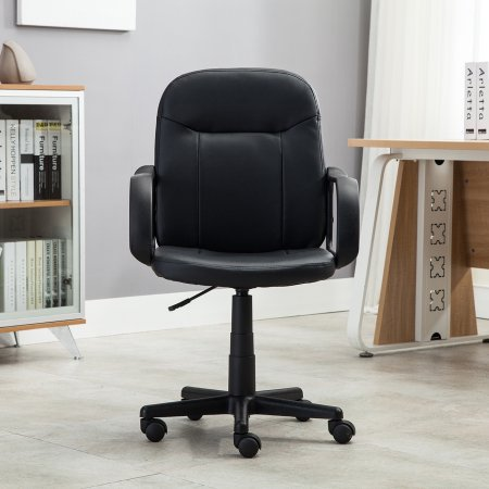 Belleze Mid-Back Office Chair Faux Leather Ergonomic Desk Swivel Task, Black